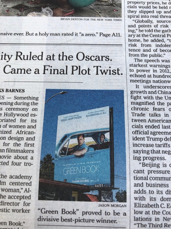 NY Times front page Green Book billboard