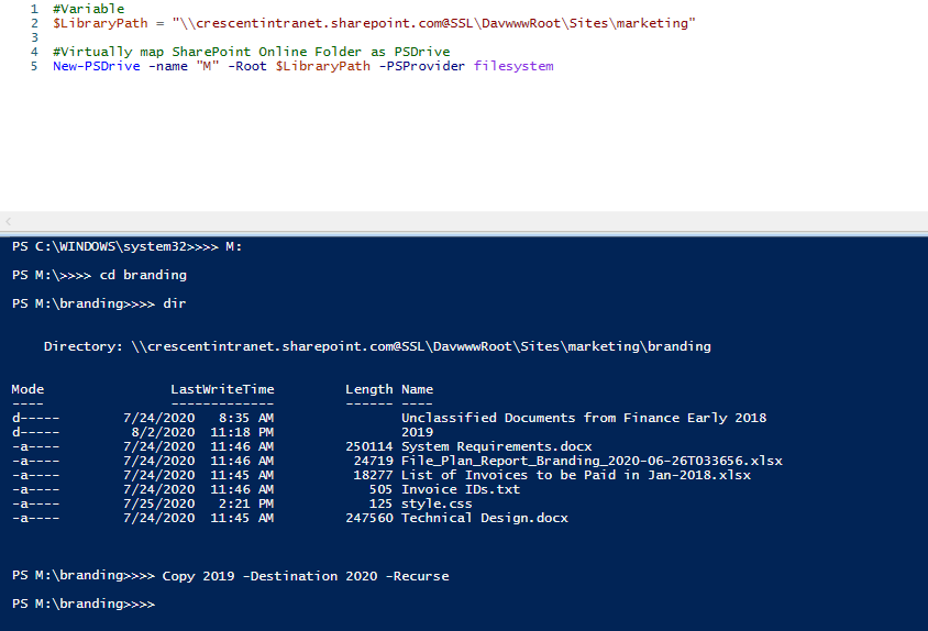 navigate site file system using sharepoint online powershell
