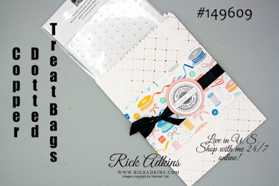Copper Dotted Treat Bags, Follow Your Art Designer Series Paper, Basic Black Satin Ribbon, Rick Adkins