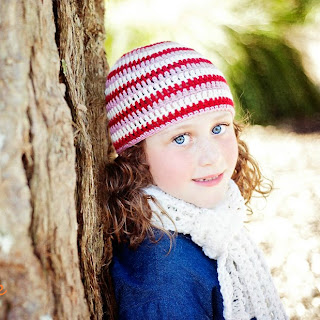 Striped Beanie in Frost, Ruby and Pink