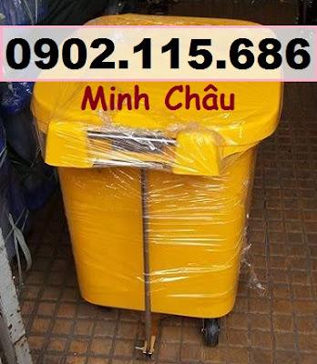Thùng rác nhựa 60l, thùng rác nhựa 60 lít, thùng rác 60l nắp đạp chân, thùng rác 60l nắp bập bênh, thùng rác 60l có bánh xe, 3