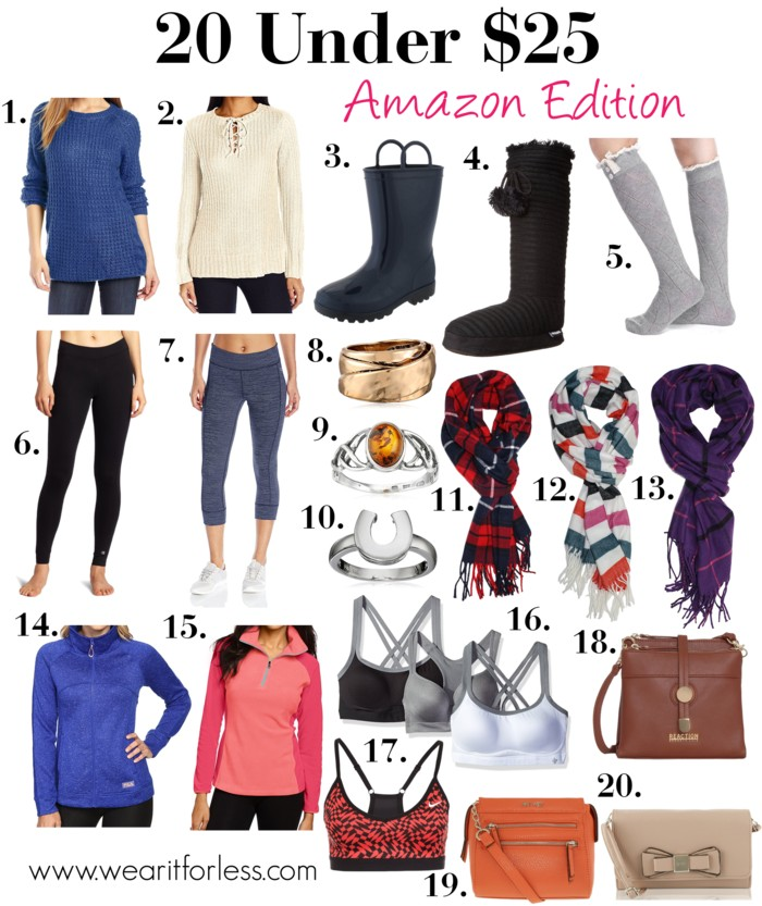 1. Raglan Pullover Sweater | 2. Corinne Lace up Pullover Sweater | 3. Jelly Rain Boot | 4. Ribbed Poms Winter Boot | 5. Lace Trim and Buttons Boot Sock | 6. Absolute Workout Legging | 7. Barcode Heather Capri Legging | 8. Hammered Ring | 9. Sterling Silver Amber Celtic Love Knots Ring | 10. Sterling Silver Horseshoe Ring | 11. Classic Cashmere Feel Plaid Scarf | 12. Classic Cashmere Feel Striped Scarf | 13. Classic Cashmere Feel Plaid Scarf | 14. Knitwit Sweater Jacket | 15. Glacial Fleece III Half Zip Jacket | 16. 3 Pack Medium Impact Active Bra | 17. Pro Block Sports Bra | 18. Roundabout Mini Cross Body | 19. Zip Zip Cross Body Bag | 20. Evette Clutch Crossbody Bag