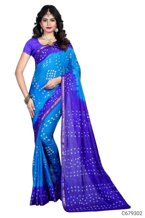 Glamorous Lichi Silk Bandhani Print Sarees Buy 449₹