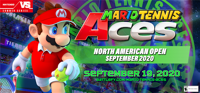 Mario Tennis Aces North American Online Open September 2020 banner logo Battlefy