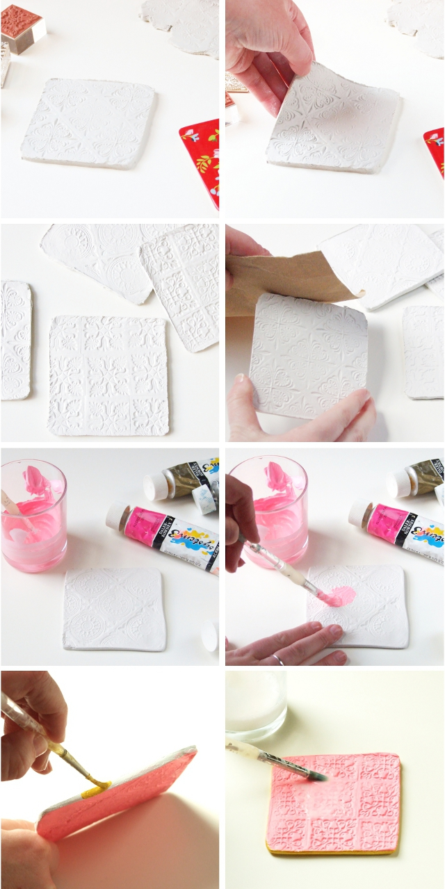 Step by Step how to make your own Diy Stamped Clay Coasters.