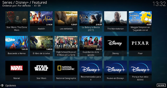 Menu addon DISNEY PLUS KODI
