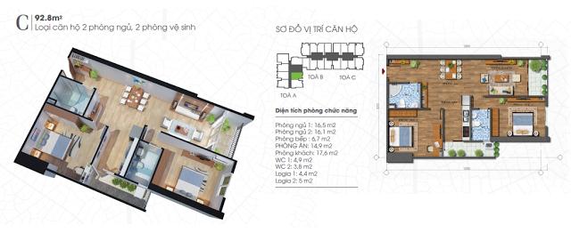 thiết kế căn hộ ecolife tây hồ 92,8m