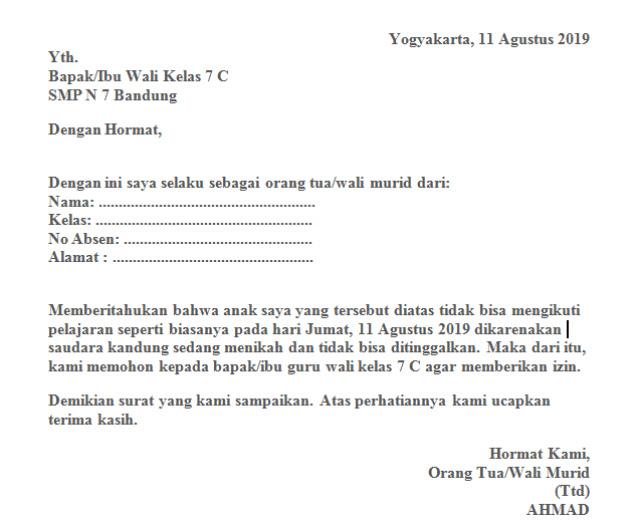 Contoh Surat Izin Tidak Masuk Sekolah yang Benar (via: 99.co)