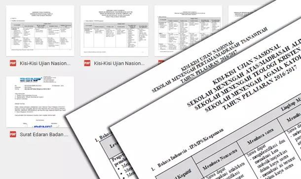 Kisi-Kisi Ujian Nasional (UN) Tahun Pelajaran 2016-2017