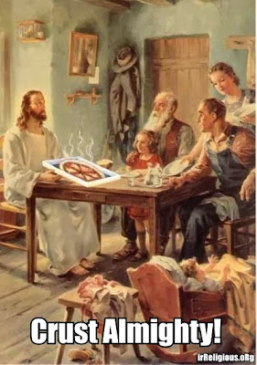 Funny Jesus Meme Picture - Crust Almighty! Jesus shares a crusty pizza with a family