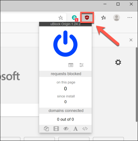 اضغط على أيقونة امتداد Google Chrome ، بجانب شريط العناوين ، للتفاعل معها في Microsoft Edge
