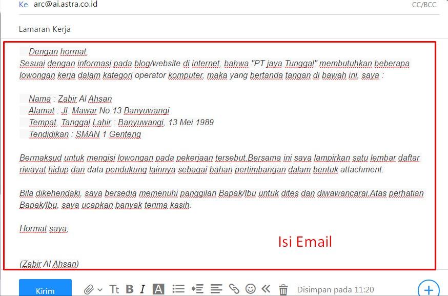 Cara Membuat Lamaran Kerja Via Email Lewat HP - ben jobs