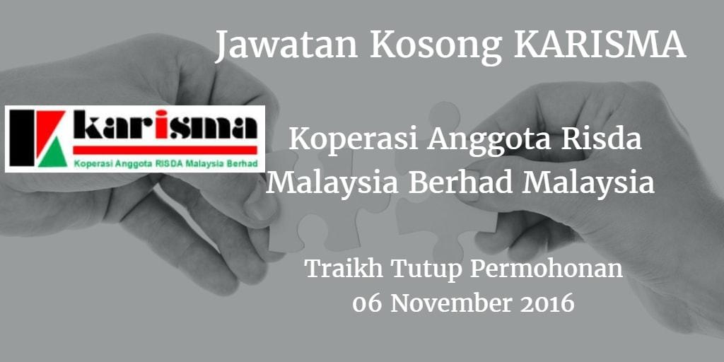 Jawatan Kosong KARISMA 06 November 2016