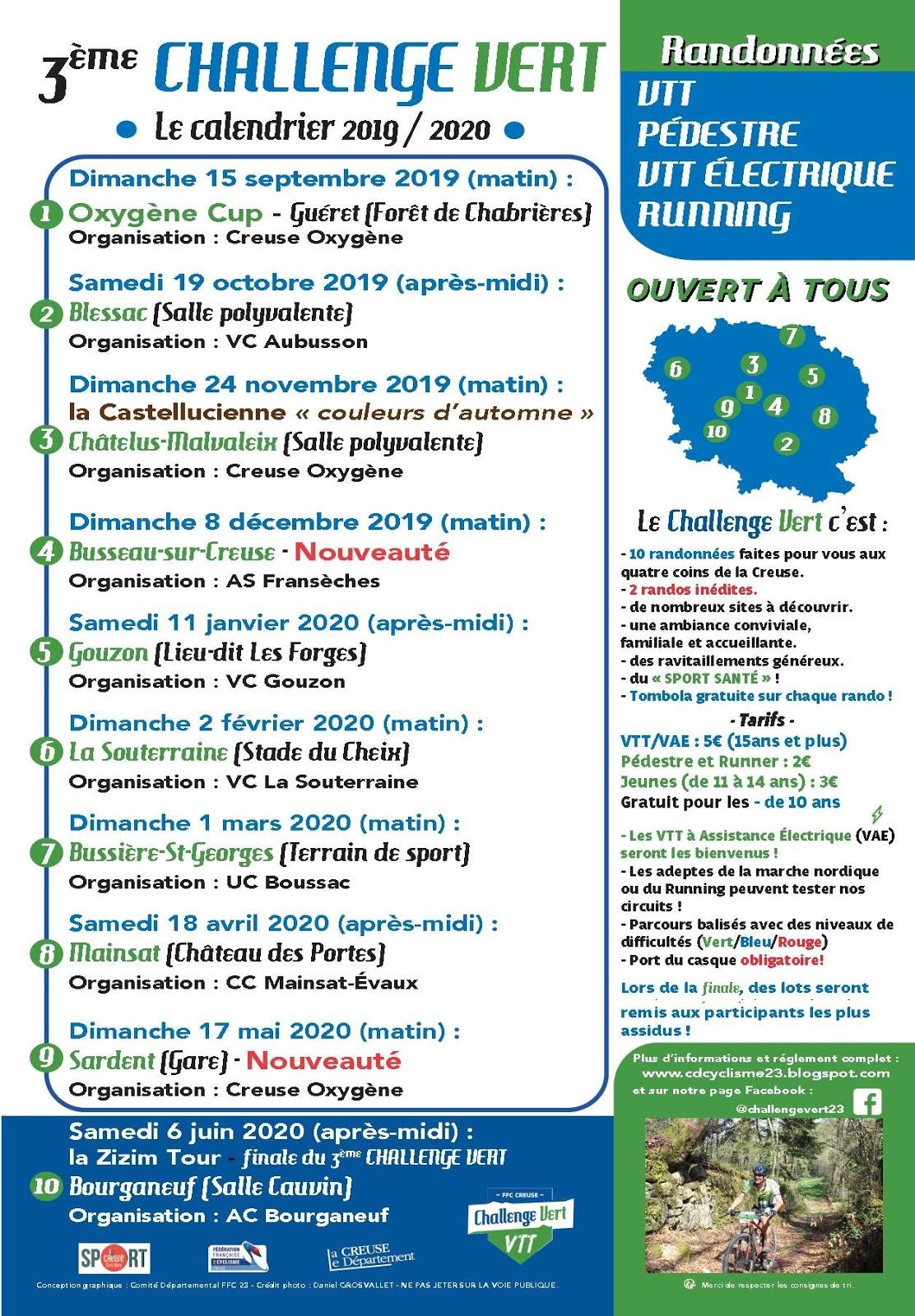 Calendrier Ffc 2021 Comité Départemental FFC de la Creuse: Challenge Vert: le