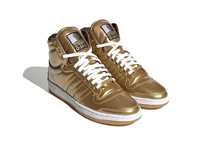 Metallic Gold Star Wars C-3PO Adidas Top Ten Hi Sneaker