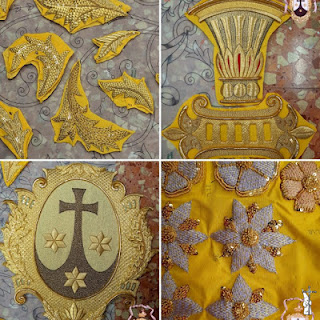 Grande de León está bordando el manto de salida de la Virgen del Carmen de Sanlúcar la Mayor (Sevilla)