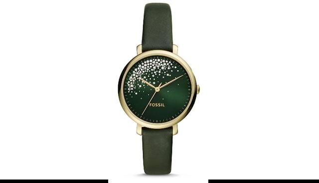 Fossil Jacqueline Three-Hand Dark Green Leather Watch [ES4771]