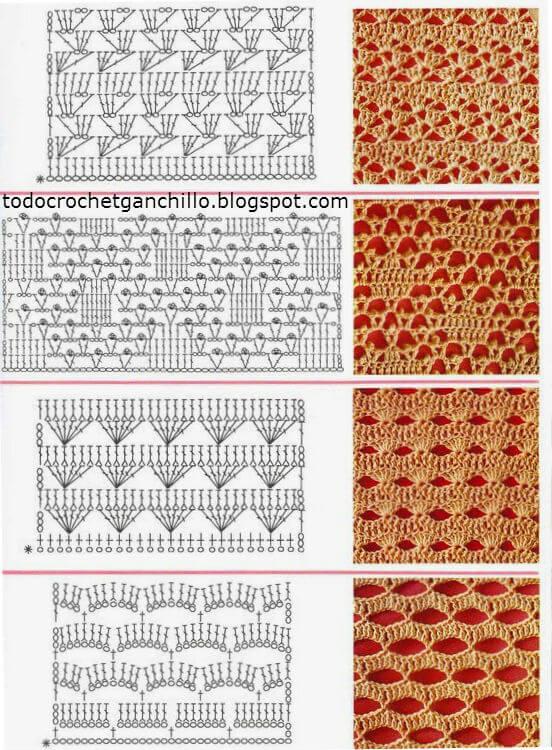 25 Puntos crochet con esquemas para descargar  Patrones
