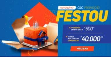 Cadastrar Promoção C&C Aniversário 2020 Festou Prêmios Todo Dia e Sorteios 40 Mil Reais