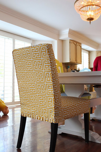 Custom Slipcovers by Shelley Greek Key Parson chairs