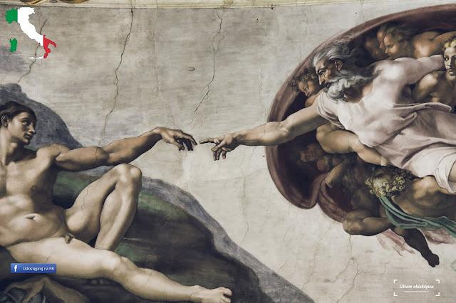 Fresk - Stworzenie Adama