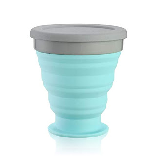 Baskety Silicone Collapsible Travel Cup - Silicone Folding Camping Cup with Lids - Expandable Drinking Cup Set - BPA Free, Portable, Graduated (Green)