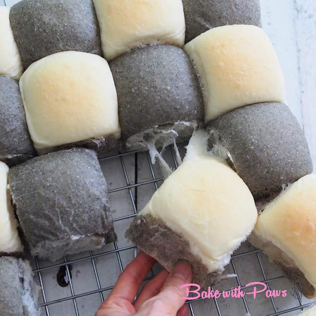 Black Sesame Sourdough Discard Checkered Buns