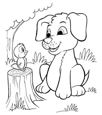 gambar sketsa anjing dan burung