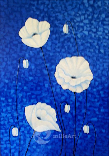 lukisan bunga putih minimalis