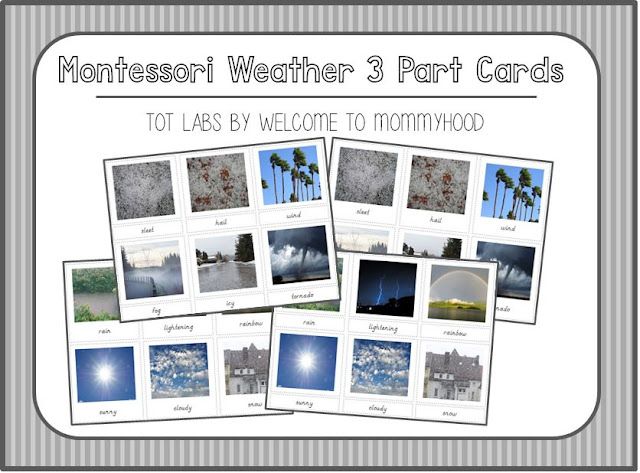 Montessori weather 3 part cards by Welcome to Mommyhood #montessori, #preschool, #weatherunit, #preschoolactivities, #reading