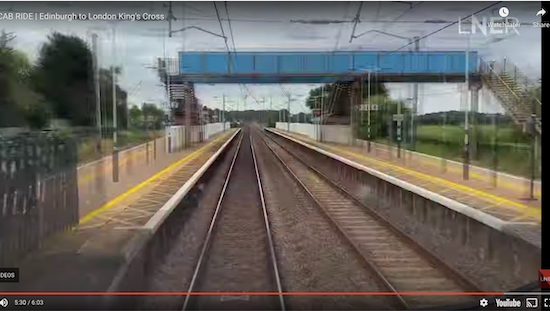 "Brookmans Park station at 5'30"" - screen grab from the LNER video"