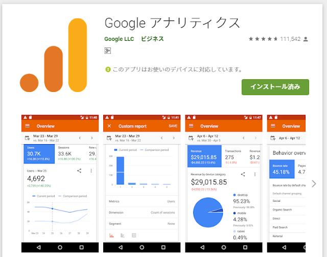 Googleアナリティクス アプリ
