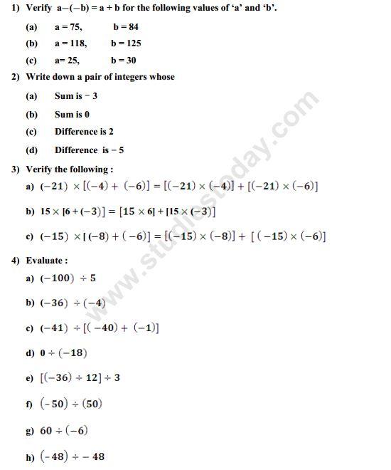 Maths 7 DCMC 2017 – Integers Practice Worksheet