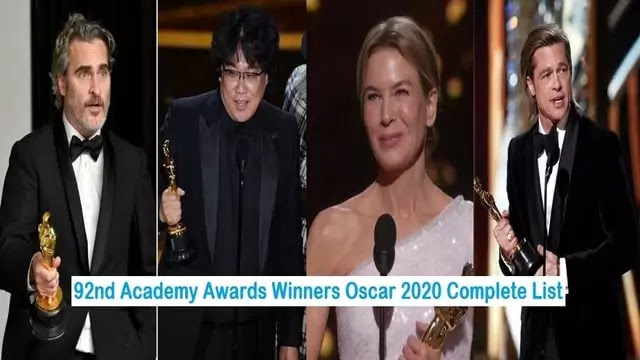 92nd Academy Awards Winners Oscar 2020 Complete List - Uslis