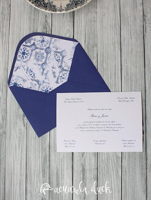 invitación boda azul