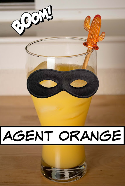 Agent Orange is a simple yet delicious mix of vodka, Grand Marnier and orange juice.