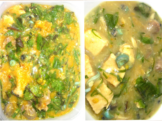 Two Nigerian soups in one: Ofe Oha (Oha soup) & Ofe Nsala (White soup)