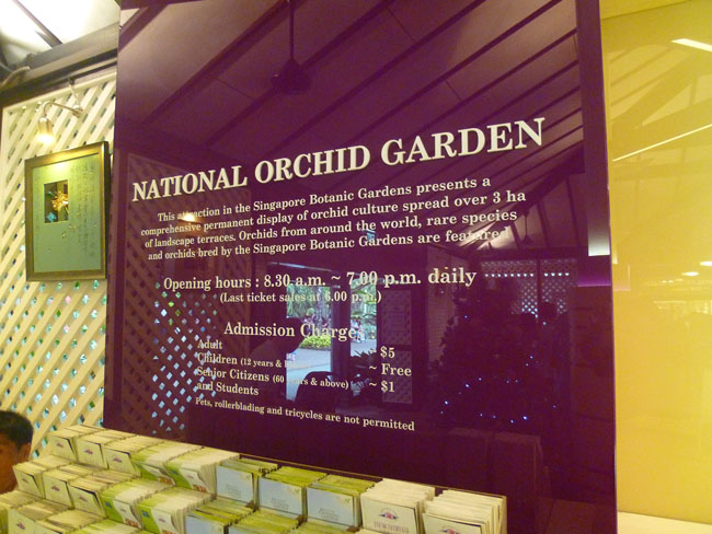 Cartel horarios National Orchid Garden de Singapur
