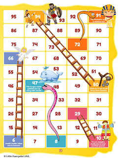 Snake and Ladder game board right side based on the old testament