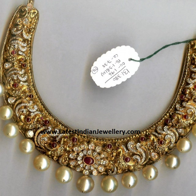 Intricate Peacocks Kanti Necklace