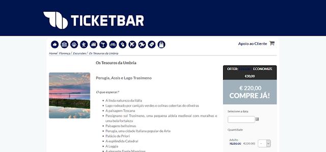 Ticketbar para ingressos para uma visita aos tesouros da Umbria