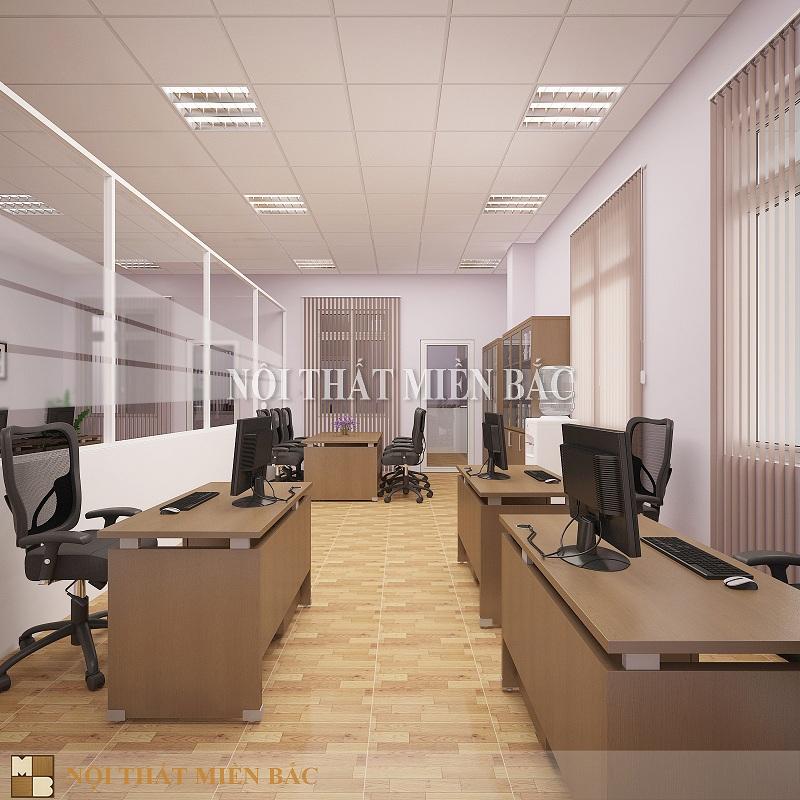Thiết kế văn phòng sang trọng với vách ngăn hiện đại