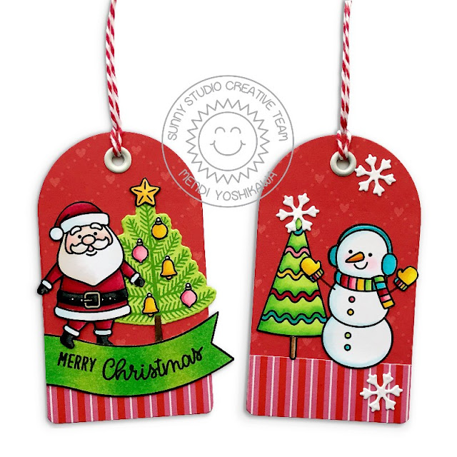 Sunny Studio Stamps Santa & Snowman Gift Tags by Mendi Yoshikawa (using Santa Claus Lane & Feeling Frosty Stamps, Build-a-Tag #1 dies and Holiday Cheer 6x6 Paper)