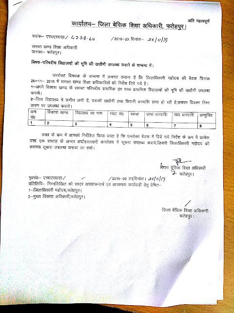 फतेहपुर - बेसिक शिक्षा परिषद के स्कूलों की भूमि की खतौनी निकलवाने के सम्बन्ध में आदेश जारी,basic shiksha parishad school khatauni