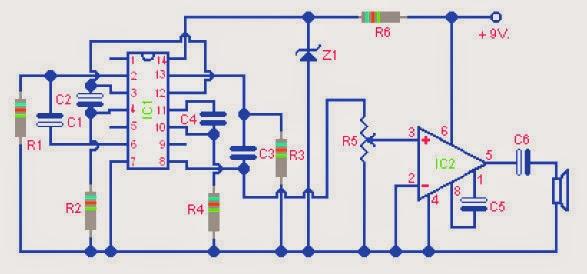Two Tone Electronic Siren Circuit Electronic Schematic Diagram