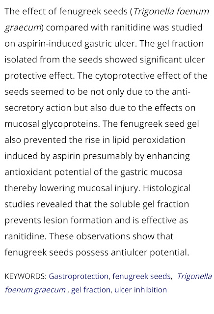 fenugreek benefits for heartburn ulcers