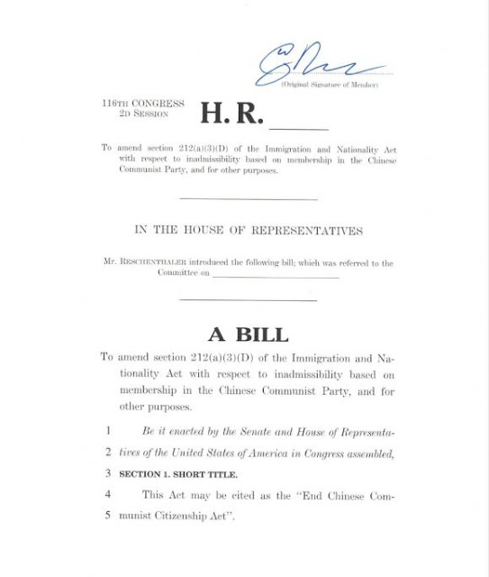 Mỹ: Giới thiệu dự luật ngăn chặn đảng viên Trung Quốc nhập tịch Hoa Kỳ
