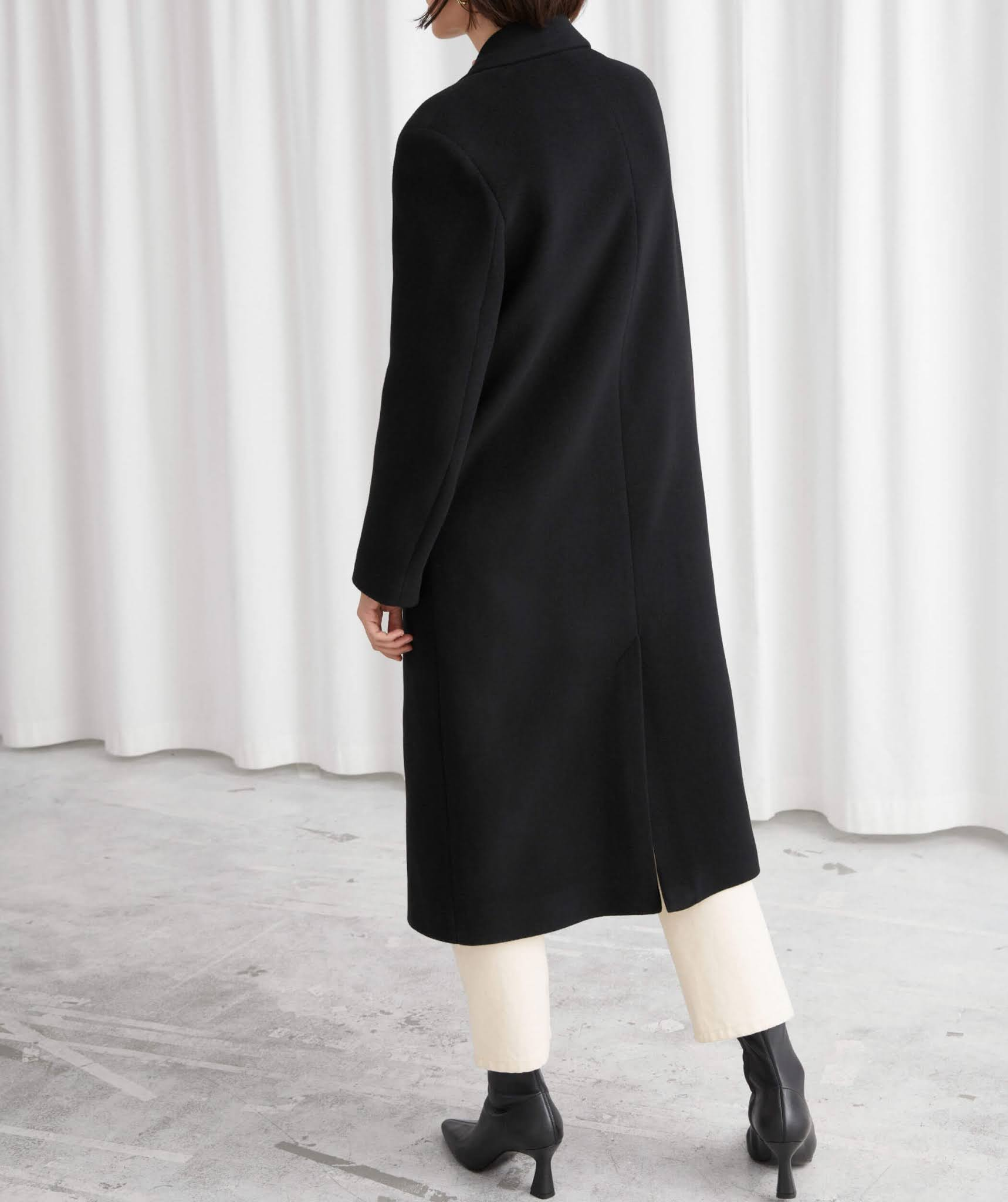 black relaxed single breasted coat
