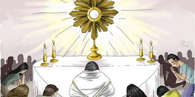 imagem de adoração a Jesus no Santíssimo Sacramento