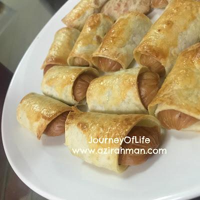 hidangan ringkas untuk sarapan atau minum petang; popia sardin; sosej rolled